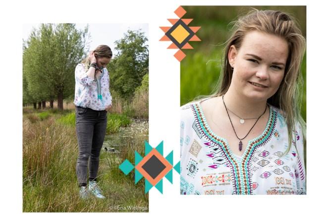 vintage blouse kringloop aztec look 2