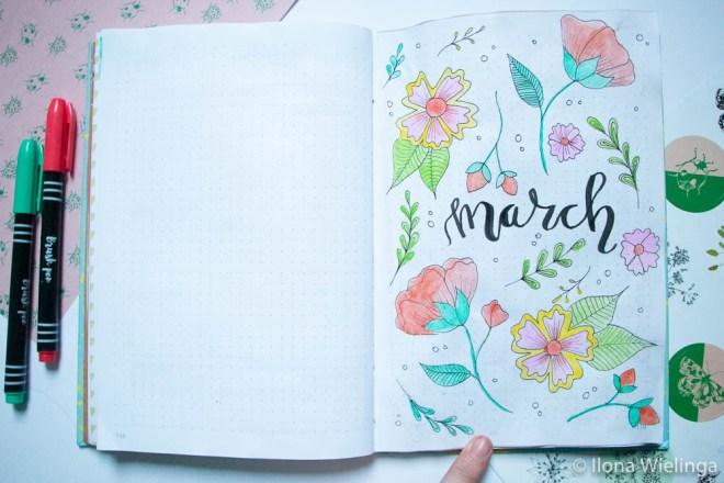 bullet journal maart bloemen