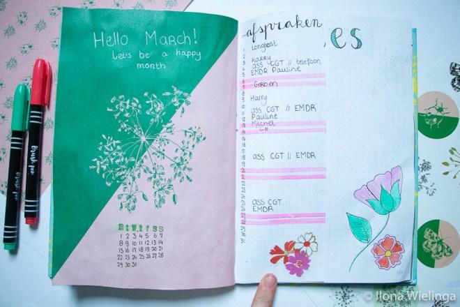 bullet journal maart bloemen 2