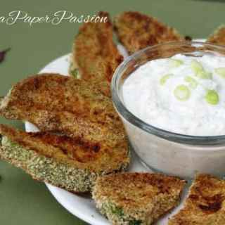 Baked Zucchini with Garlic Dip