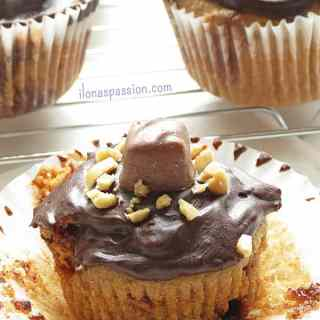 Snickers Cupcakes with Chocolate Ganache