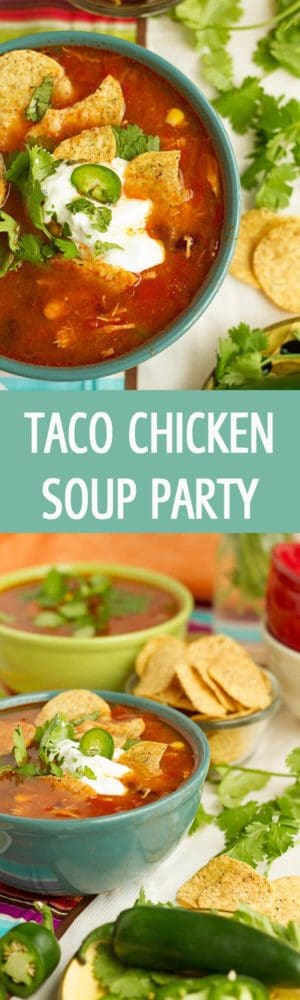 Impress your guests with this simple taco chicken soup recipe that is perfect for a party. It is delicious, quick to make and everyone loves it! by ilonaspassion.com I @ilonaspassion