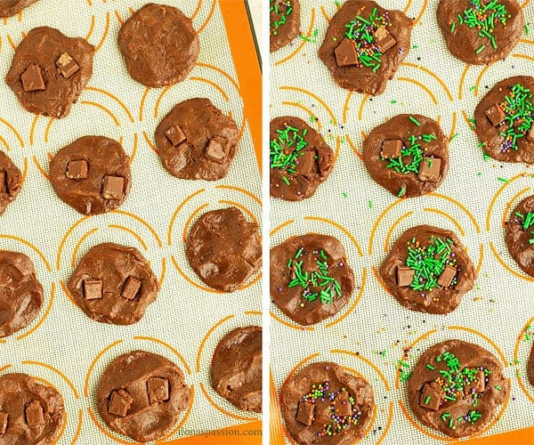 2 photos of double chocolate chunk cookies on baking sheet before baking. One photo is decorated with sprinkles and the other one has lots of chocolate chunks.