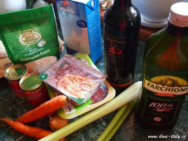 ingredience na italské ragú