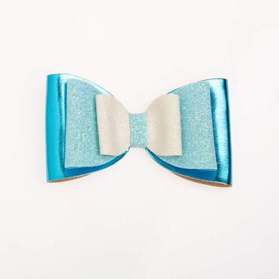 Tσιμπιδάκι, κλιπ, γκλίτερ άσπρο – γαλάζιο, δερματίνη μπλε