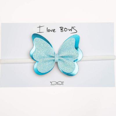 Κορδέλα, πεταλούδα, γκλίτερ γαλάζιο, δερματίνη μπλε