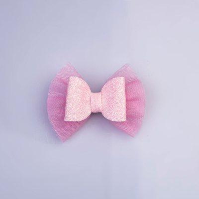 Τσιμπιδάκι κλιπ, τούλι, γκλίτερ, ροζ