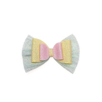 Τσιμπιδάκι κλιπ, τούλι φυστικί, γκλίτερ κίτρινο, ροζ