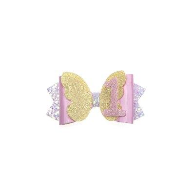 Τσιμπιδάκι, κλιπ, πεταλούδα κίτρινη, λουστρίνη ροζ, μύτες λιλά