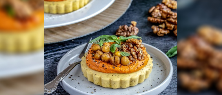Triple Chickpea Tarts with Roasted Red Pepper Hummus & Maple Walnuts, I Love Cooking, Vegan recipes, Peachy Palate, Michelle Hunt