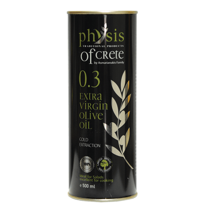 'PHYSIS OF CRETE' extra virgin olive oil 0.3 in a 500ml cylinder tin can.