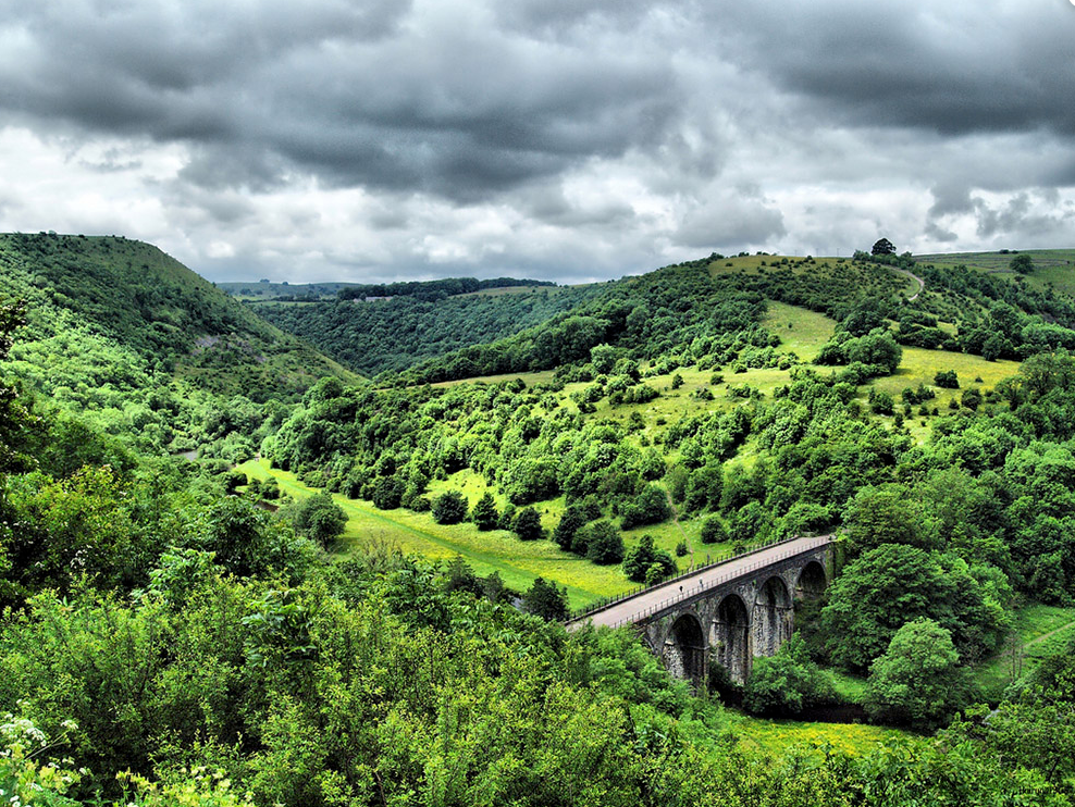 Stunning view of the Monsal Dale in Derbyshire