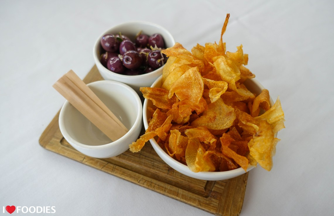 Hussar Grill potato crisps and olives