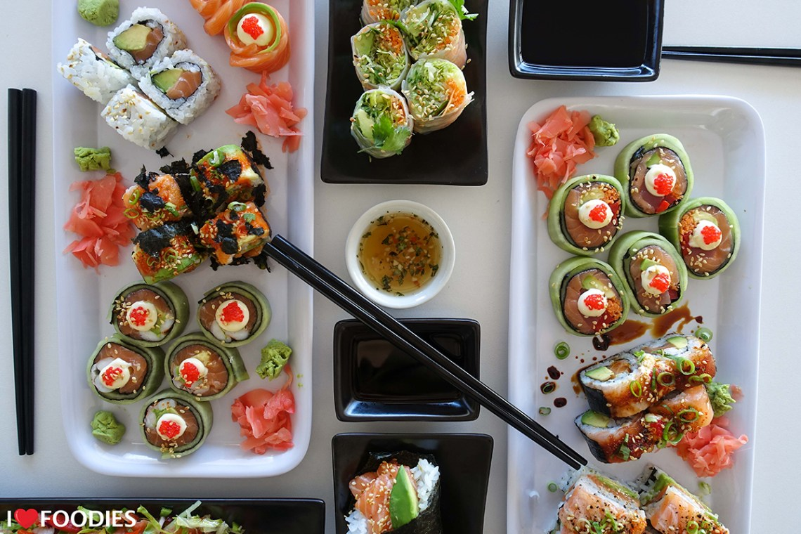 Selection of Shibui Sushi, including the cucumber rolls and prawn cucumber rolls