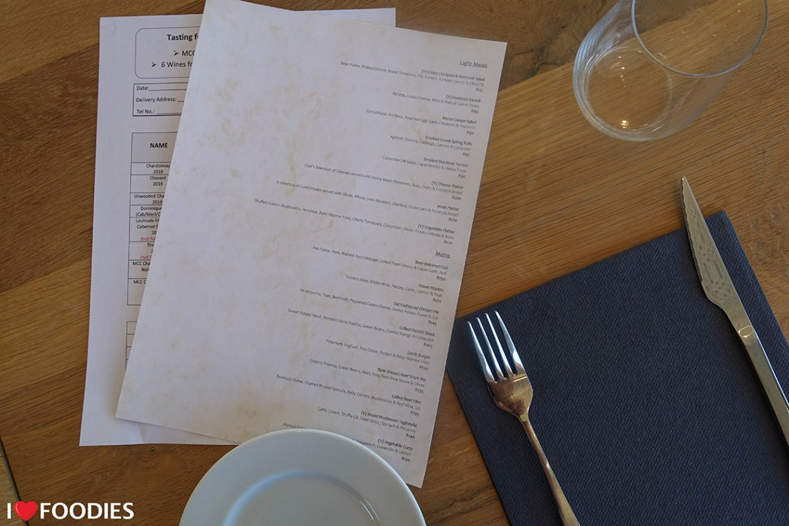 Louisvale restaurant menu