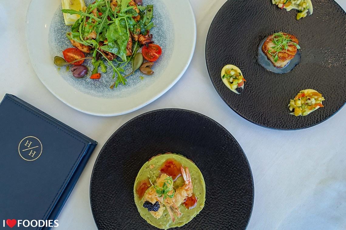 Grilled calamari, scallop, and seafood stack