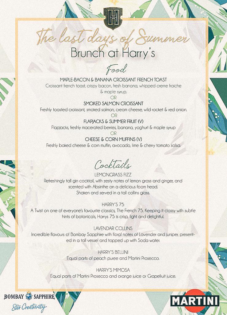 Harringtons cocktail bar Saturday brunch menu