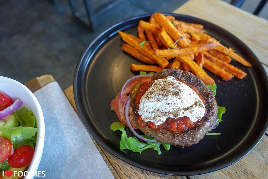 Low-carb No-Bun Beef Burger at the Bootlegger Coffee Company