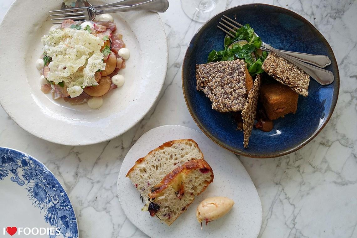 Yellowtail ceviche, deep-fried camembert, and plum focaccia