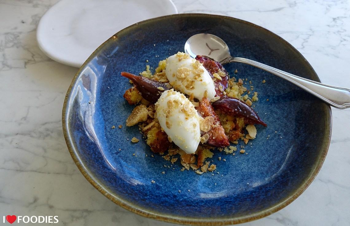 Honey-roasted farm plums with yoghurt ice cream