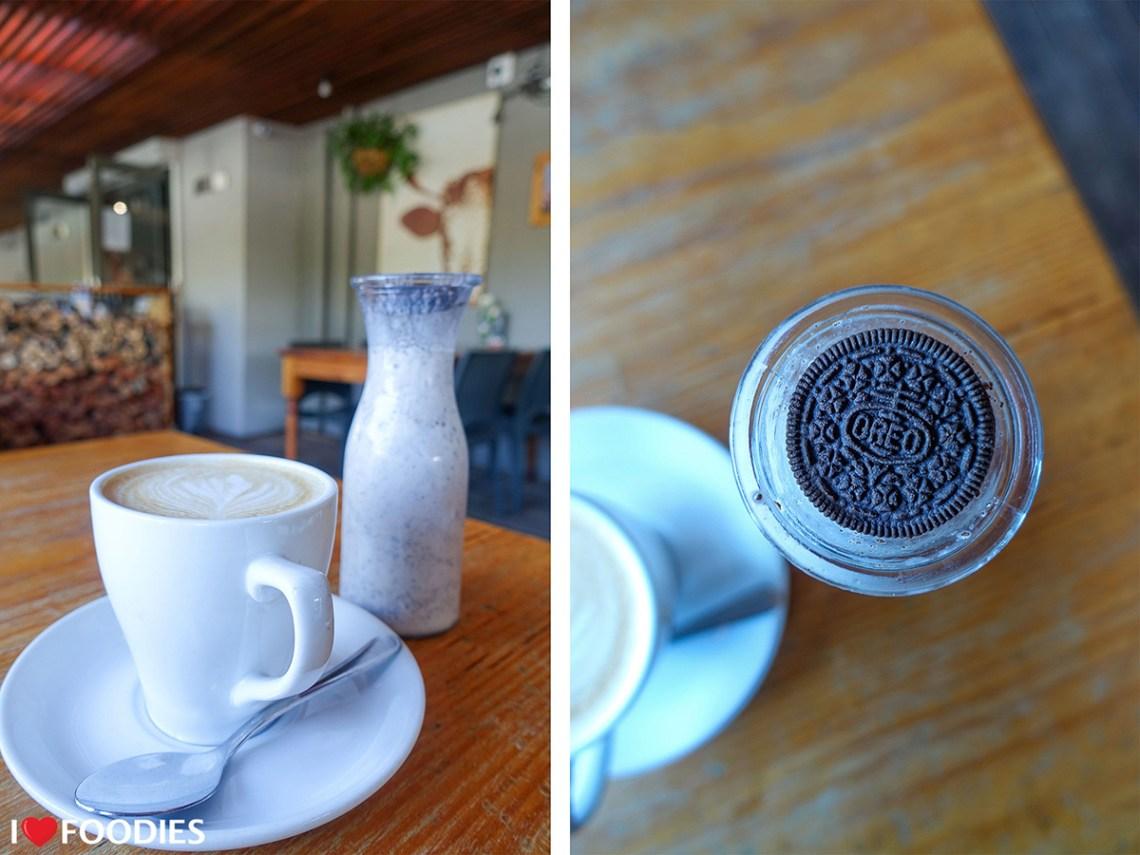 Cappuccino and an Oreo milkshake