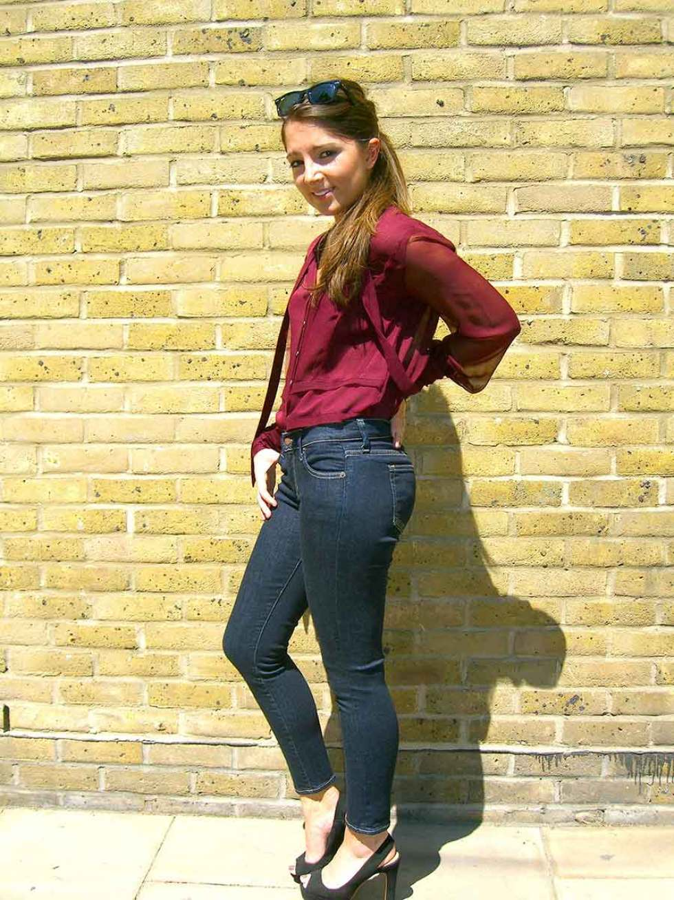 Jade wearing Textile by Elizabeth and James Ozzy skinny crop in Electric £160.00