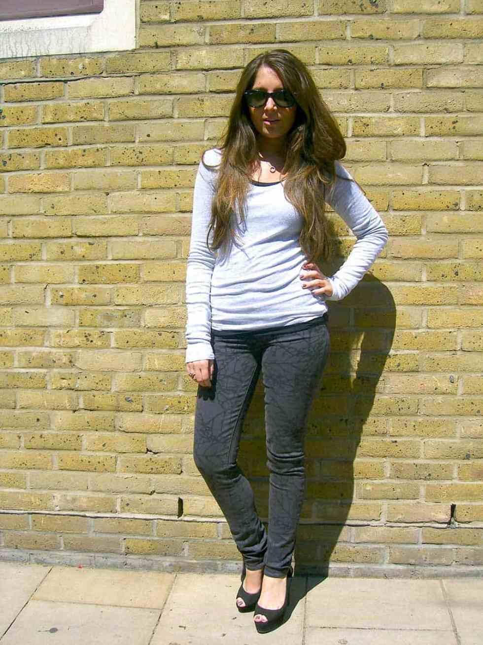 Shop Paige Skyline Ankle peg skinny Leaf print in Storm £220.00