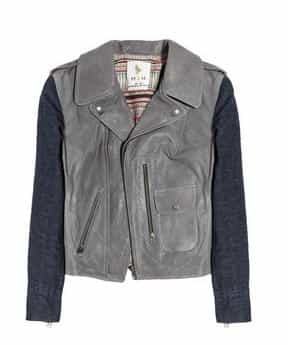 MIH JEANS Denim-sleeved leather biker jacket