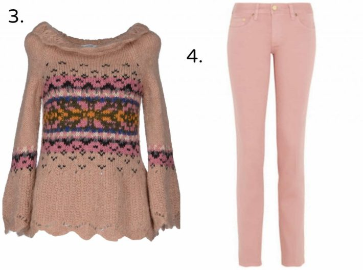 THE OUTNET.COM, pink knit fairisle jumper, pink tory burch jeans