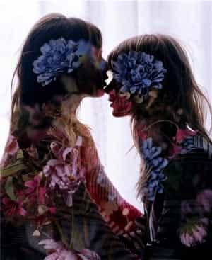 denim, mother and daughter, flower picture