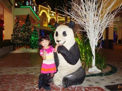 Keisha playing with the Panda Bear