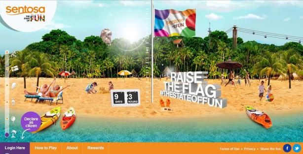 sentosa state of fun raise theflag
