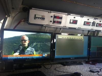 TSN livigno redazione al lavoro per servizio Rai 3