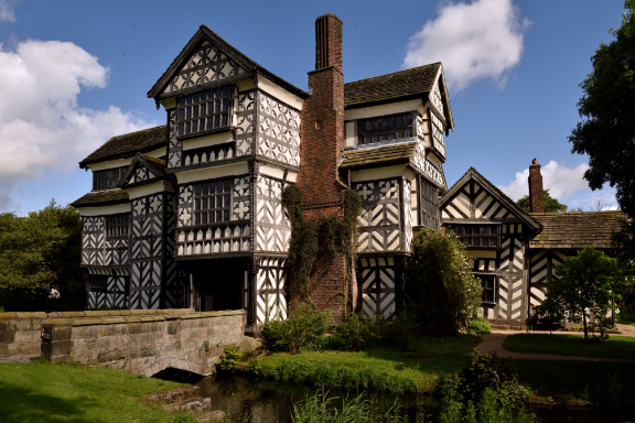 The south front of Little Moreton Hall, Cheshire.