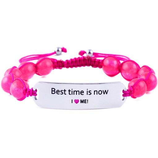 Best Time Is Now - Ruby Pink Jade Bracelet
