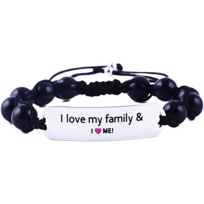 I Love My Family And I Love Me - Black Onyx Bracelet