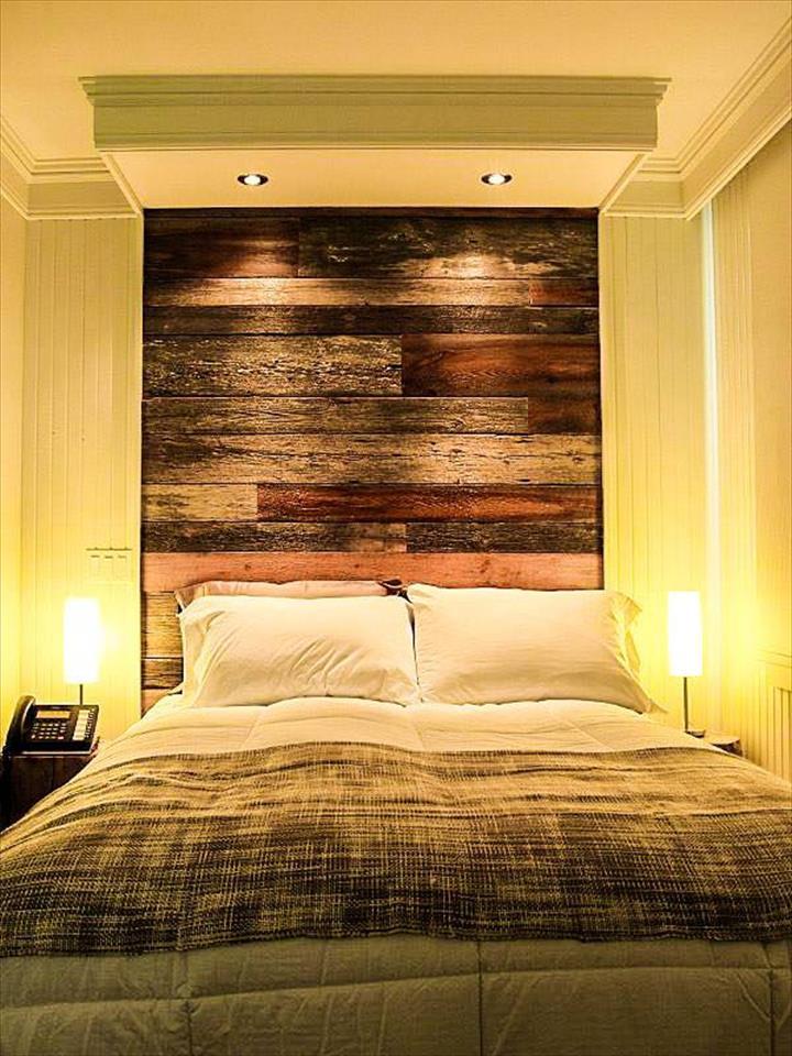 5 cabeceros de cama de palet que ocupan toda la pared  I