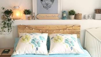 un precioso y sencillo cabecero para un dormitorio con mucha luz - Cabeceros Con Palets