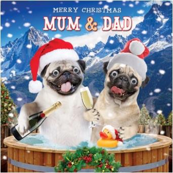 Luxury Pug Mum Amp Dad Christmas Card I Love Pugs