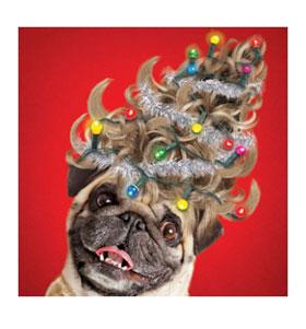 Pug Christmas Tree Wig Card I Love Pugs
