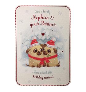 Nephew Amp Partner Pug Christmas Card I Love Pugs