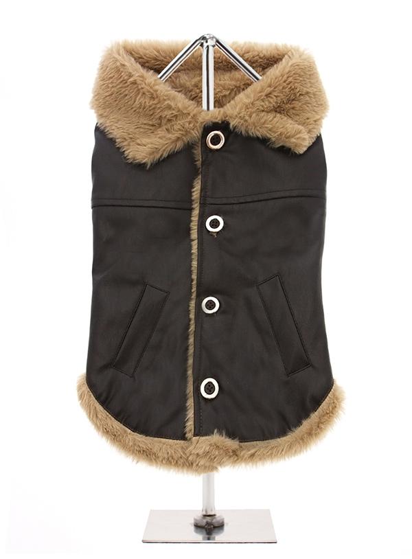 Urban Pup Fleece Lined Aviator Coat I Love Pugs