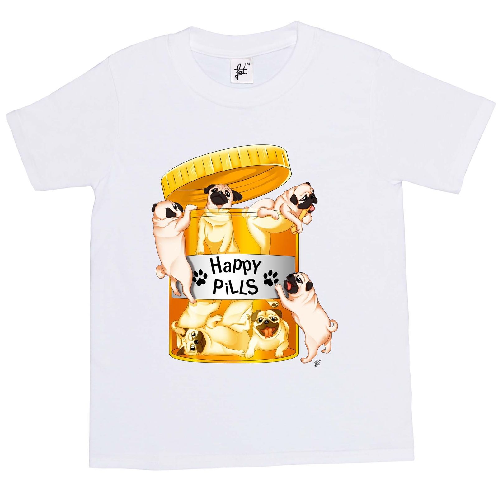 Kids Happy Pills Pug T Shirt Available In 7 Colours I