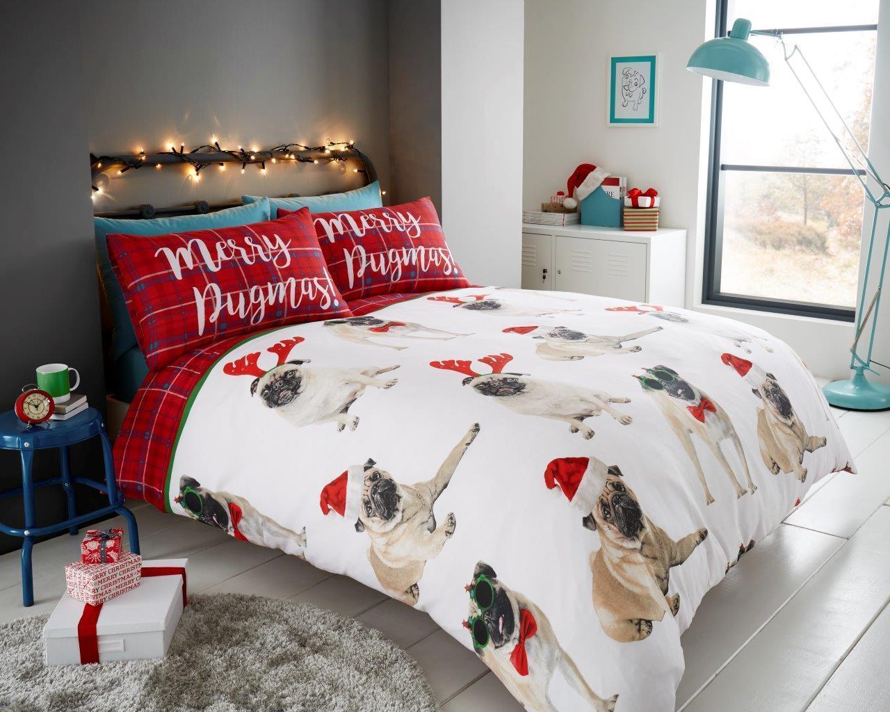 Merry Pugmass Double Christmas Duvet Set I Love Pugs