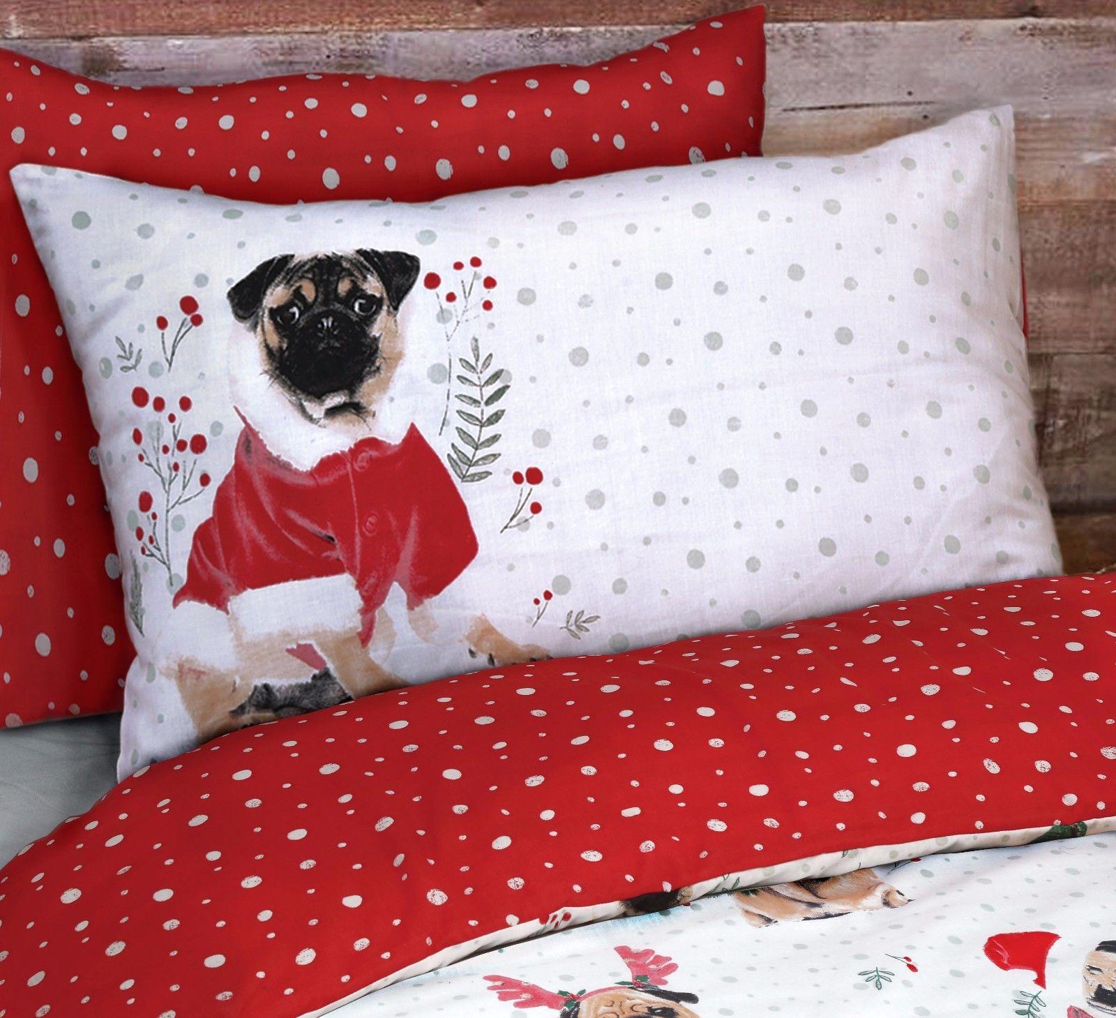 King Pug Printed Christmas Duvet Set I Love Pugs