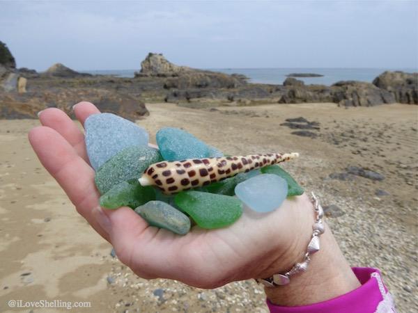 Collecting beach glass and seashells in Okinawa Japan
