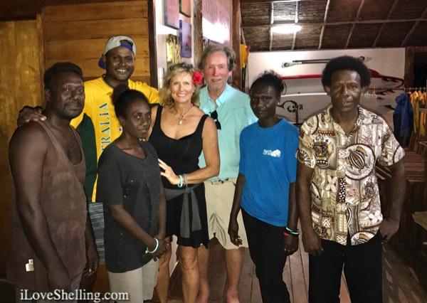 Crew at FatBoys resort solomon islands with Rambo