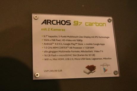 Prise en main de la tablette Archos 97 carbon au salon IFA 2012 à Berlin 6