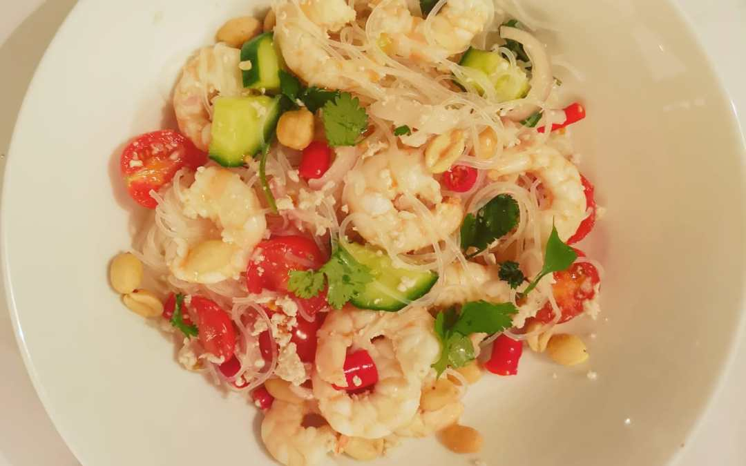 Prawns and minced pork glass noodles spicy salad. Get recipe here now!