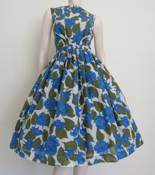 GORGEOUS 1950s Blue Roses Party Dress from WordftBird via Round She Goes Markets